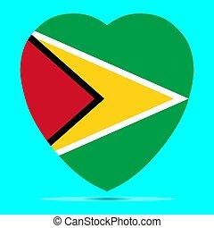 Guyana Flag In Heart Shape Vector
