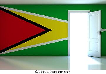 Guyana flag on empty room