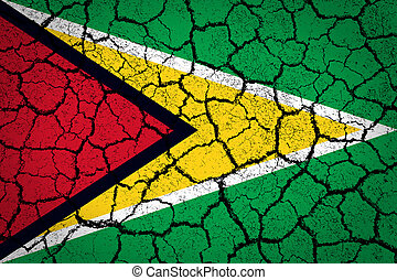 Guyana flag painted on a cracked ground