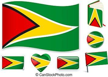 Guyana flag wave, book, circle, pin, button, heart and sticker.