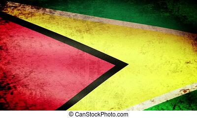 Guyana Flag Waving, grunge look