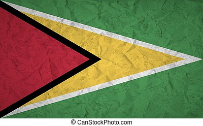 Guyana flag with the effect of crumpled paper and grunge -...