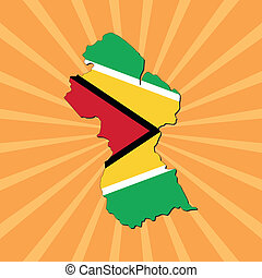 Guyana map flag on sunburst