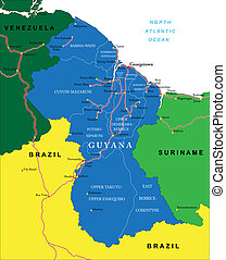 Guyana map - Highly detailed vector map of Guyana with...