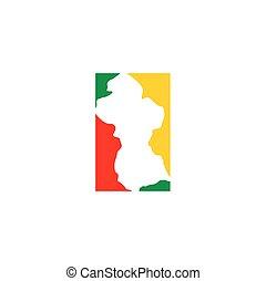 guyana map logo icon vector symbol element