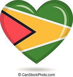 Guyana national flag in heart shape vector illustration