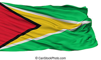 Guyana Naval Ensign Flag, Isolated On White Background, 3D ...