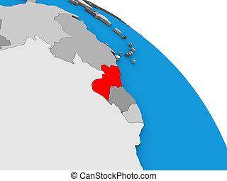 Guyana on 3D globe