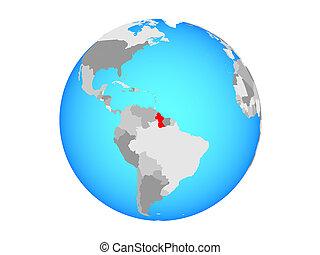 Guyana on globe isolated