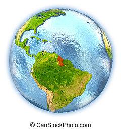 Guyana on isolated globe