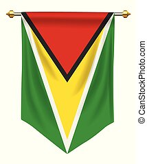 Guyana Pennant - Guyana flag or pennant isolated on white