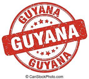 Guyana red grunge round vintage rubber stamp