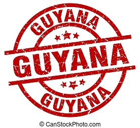 Guyana red round grunge stamp