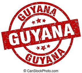Guyana red round grunge stamp