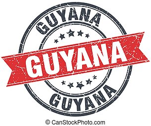 Guyana red round grunge vintage ribbon stamp