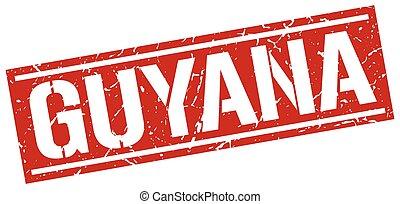 Guyana red square stamp