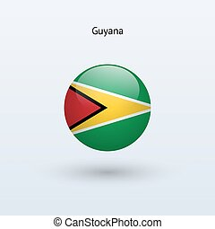 Guyana round flag. Vector illustration.