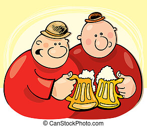 Guys drinking beer - Illustration of two guys drinking beer