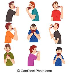 Guys Eating Chocolate Set, Sweet Tooth Men Cartoon ...