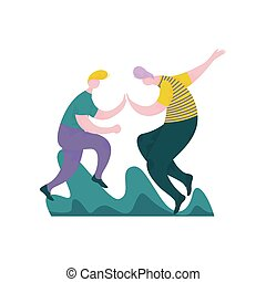 Guys Giving Five to Each Other, Male Characters Having Fun, Human Interaction, Friendship, Teamwork, Cooperation Vector Illustration