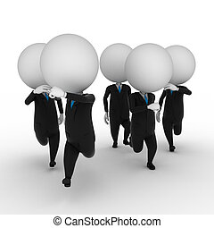 guys in suits running - 3d rendered illustration of guys in...