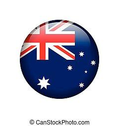 guzik, bandera, australijski, połyskujący