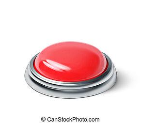 guzik, biały czerwony, odizolowany