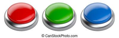 guzik, copy-shot., czerwony, połyskujący, przestrzeń, czysty, komplet, błękitna zieleń