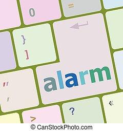 guzik, ilustracja, wektor, klucz, klawiatura, alarm
