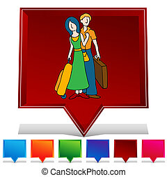 guzik, komplet, gemstone, para, podróżowanie