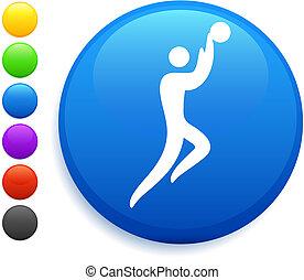 guzik, koszykówka, ikona, okrągły, internet