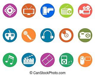 guzik, multimedia, komplet, okrągły, ikony