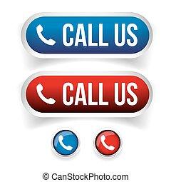 guzik, -, na, telefon, wektor, rozmowa telefoniczna, ikona