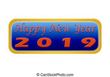 guzik, naklejona etykietka, szczęśliwy nowy rok, 2019, białe tło