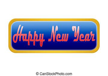 guzik, naklejona etykietka, szczęśliwy nowy rok, białe tło
