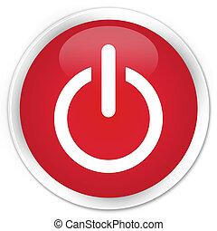 guzik, od, moc, czerwony, ikona