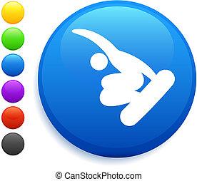 guzik, (skateboard), ikona, okrągły, snowbaord, internet