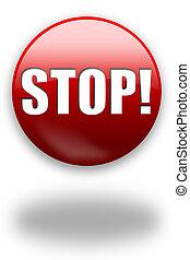 guzik, stop!, /, znak