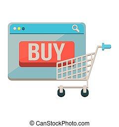 guzik, webpage, szablon, kupować