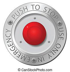 guzik, wektor, zatrzymywać, czerwony, znak
