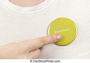 guzik, wręczać spoinowanie, ochotnik