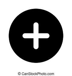 guzik, znak, plus, ikona