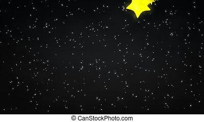 gwiaździsty, noc, meteor.