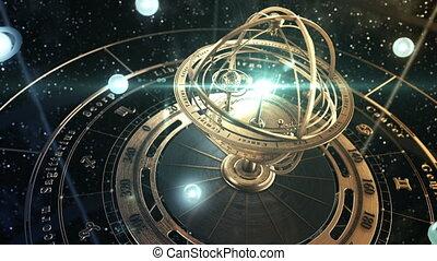 gwiaździsty, tło, sky., 4k., armijny, zodiak, astrologia, ...