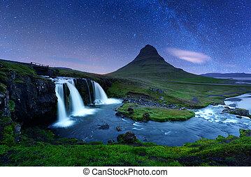 gwiaździsty, waterfall., niebo, kirkjufellsfoss