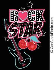 gwiazda, afisz, abstrakcyjny, gitara, wiśnie, skała