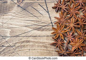 gwiazda, badian, drewniany, anyż, ognisko., tło., selekcyjny