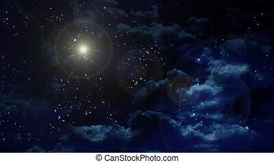 gwiazda, biały, planeta, soczewka migoczą, na, nig