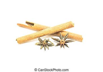 gwiazda, chińczyk, anyż, cynamon, tło, biały
