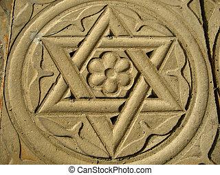 gwiazda dawida, wyryty, w, kamień, -, judaizm